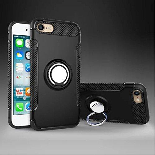 YHUISEN iPhone 7 caso, armadura de doble capa 2 en 1 resistente caso de protección a prueba de choques con 360 grado rotatorio dedo titular del anillo y el imán de la caja del sostenedor del coche par Black