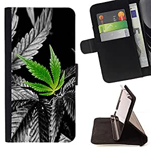 For Apple Iphone 4 / 4S Cannabis Weed Plant Hemp Nature Love Style PU Leather Case Wallet Flip Stand Flap Closure Cover