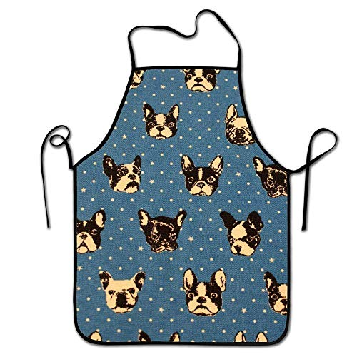- prisiraseea -Waist Adjustable Professional Apron Kitchen French Bulldogs Blue Woman Aprons Comfortable Perfect for Cooking Guide