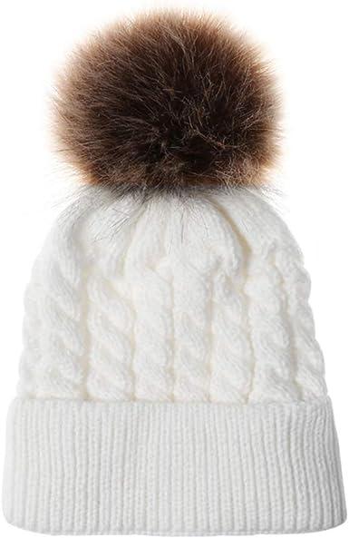 Newborn Baby Kids Pom Pom Hat Bobble Beanie Knitted Double hairball Cap Boy Girl