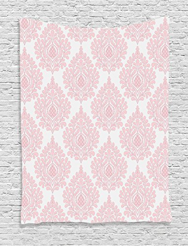 - Ambesonne Damask Tapestry, Damask Pattern Royal Motif Baby Pink Floral Design Victorian Fashioned Print, Wall Hanging for Bedroom Living Room Dorm Decor, 40