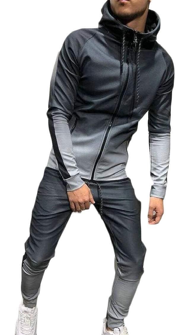 XQS Mens Long Sleeve Gradient Hoodies Sweatshirt Tracksuit Pants 2Pcs