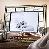 J Devlin Pic 389-46H EP528 Personalized Baby Keepsake Frame Green 4x6 Horizontal Table Top Photo Frame Nursery Decor New Baby Gift