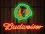Desung Brand New 14''x10'' B udweiser Sports League C-Blackhawks Neon Sign (Various Sizes) Beer Bar Pub Man Cave Glass Neon Light Lamp BW42