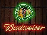Desung Brand New 14''x10'' B udweiser Sports League C-BlackhawksNeon Sign (Various Sizes) Beer Bar Pub Man Cave Glass Neon Light Lamp BW42