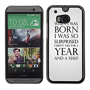 MOBMART Carcasa Funda Case Cover Armor Shell PARA HTC One M8 - Silence Of A Baby