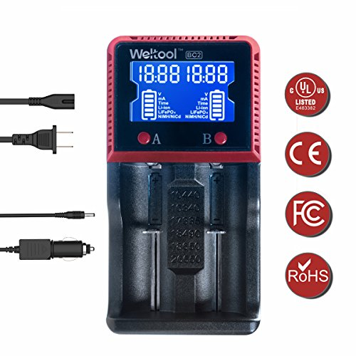 Weltool Intelligent Battery Charger Smart Digital with LCD Universal Charger for Rechargeable Batteries Ni-MH Ni-Cd AA AAA Li-ion LiFePO4 IMR 14500 16340 18650 RCR123 26650 with Car Adapter (2 Slot) (Batteries Nicad Sanyo)