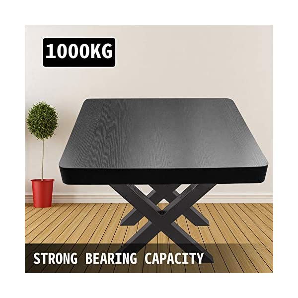 """VEVOR Set of 2 Steel Table Legs, 28""""Height 31""""Wide Dining Table Legs,Heavy Duty 3.1"""" Square Box Section X Frame Table Legs,28x31x3.1 Inch Black Color Industrial Country Style Metal Dining Legs"""