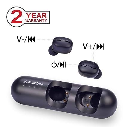 Avantree TWS110 Auriculares inalámbricos con Control de Volumen, Intrauriculares Bluetooth 5.0, Auto sincronización,