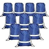 Drawstring Backpack Bags Reflective 10 Pack, Promotional Sport Gym Sackpack Cinch Bag