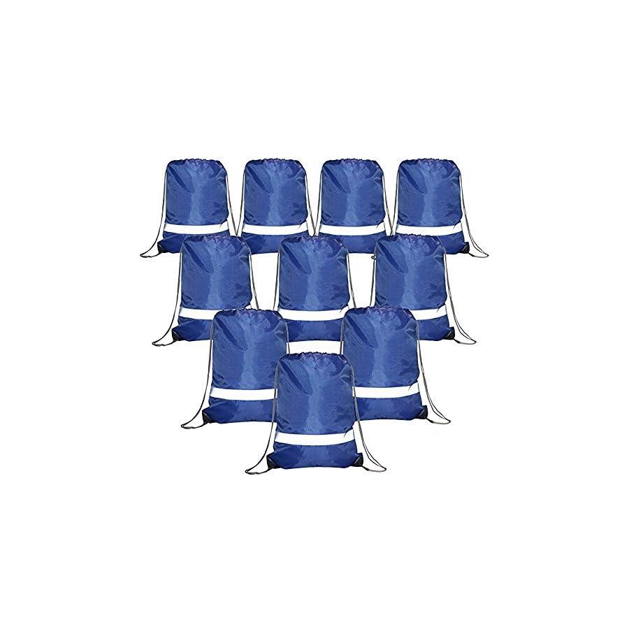 Drawstring Backpack Bags Reflective Bulk Pack, Promotional Sport Gym Sack Cinch Bags (10 Pack Royal)