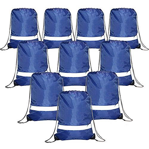 Drawstring Backpack Bags Reflective Bulk Pack, Promotional Sport Gym Sack Cinch Bags (10 Pack Royal)