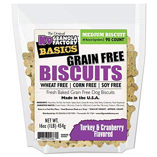 K9 Granola Factory Basics Grain Free Biscuits, Medium 90 Count, Turkey and Cranberry Flavored Dog Treats