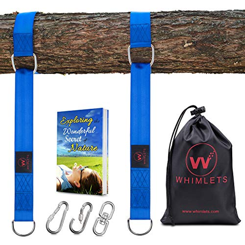 Whimlets Tree Swing Straps Hanging Kit - Two Straps Extra Long with Safer Lock Snap Carabiner Hooks - Perfect for Tree Swings & Hammocks - Easy and Fast Installation
