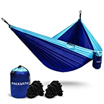 PACEARTH Capacity 1300lbs Double Hammock Comfortable Easy to Set Up Hang Pack Up Lightweight Sturdy Nylon Work Well with Tree Straps Steel Carabiners for Hiking Hard Park Mountain 94.5(L) x 55(W)
