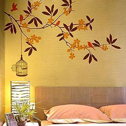 Buy happy walls orange colour flowers with brown shade leaves happy walls orange colour flowers with brown shade leaves birds on tree branch wall mightylinksfo