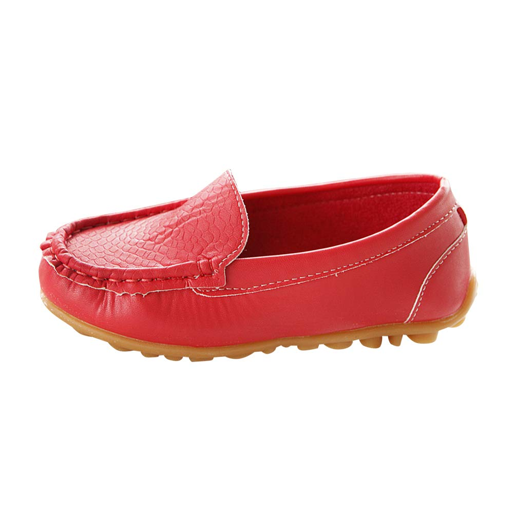 08352e6459 Huatime Boys Girls Shoes Loafer Flats - Moccasins Leather Toddler ...