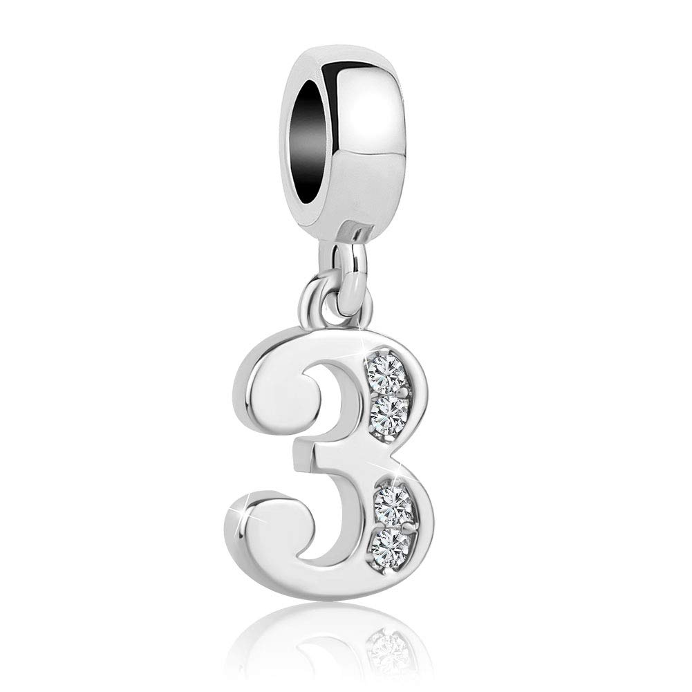 Charmed Craft Dangle 0-9 Number Charms with Clear Crystal Beads for Charm Bracelets