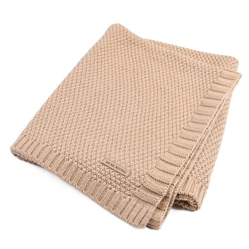 Pueri Knit Baby Blanket Soft Sweater Knit Swaddle Blanket Stroller Nursery Blanket for Boys Girls Kids (Brown)