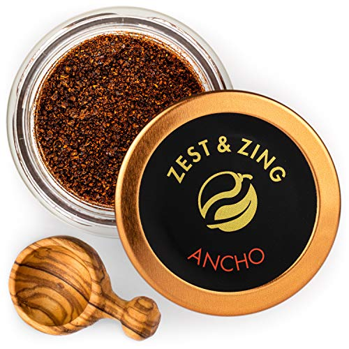 Ancho Chili (Ground), 0.7oz - Premium Chillis By ZEST & ZING. Fresher, convenient, stackable Spice Jars.