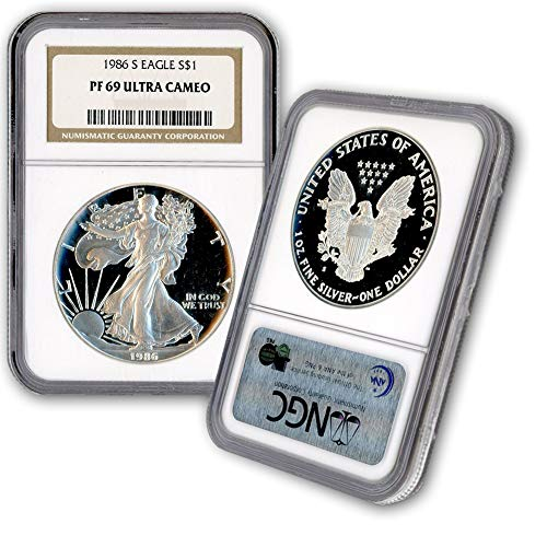 1986-S $1 American Silver Eagle NGC PF69UCAM Proof 1 Oz .999 Fine Dollar Coin