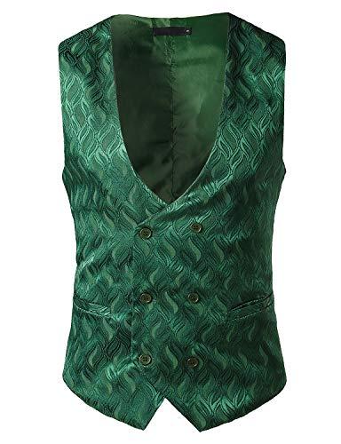 ZEROYAA Men's Hipster Jacquard Design V Neck Double Breasted Slim Fit Dress Vest for Suit or Tuxedo Z109 Dark Green Small