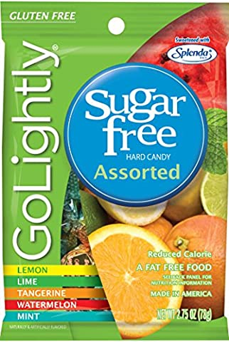 GoLightly Sugar Free Hard Candy, Assorted Flavors, 2.75 Ounce Bag (Pack of 12) - Diabetic Sugar Free Candy