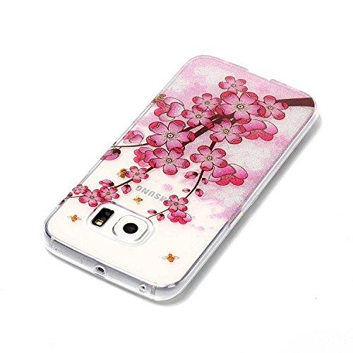 Funda Samsung Galaxy S6 edge,SainCat Moda Alta Calidad suave de TPU Silicona Suave Funda Carcasa Caso Parachoques Diseño pintado Patrón para CarcasasTPU Silicona Flexible Candy Colors Ultra Delgado Li Ciruela