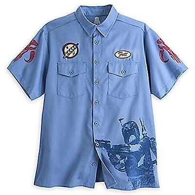 DisneyParks Disney Star Wars Boba Fett Workshirt Work Shirt Mens Adult Blue