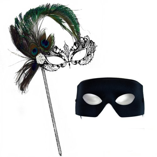 Corrine Deluxe Peacock Stick Mask-Verona Masquerade Masks for a Couple (Feathered Masquerade Mask)