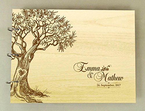 Handmade Tree Design Personalized Guest Book Rustic Wedding Wood Wooden Engraved Advice Book by Darling Souvenir