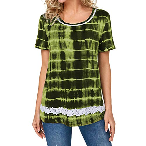 1dbad32b5 XLnuln Tops Short Sleeve Women O-Neck Plus Size T-Shirt Casual Gradation  Lace