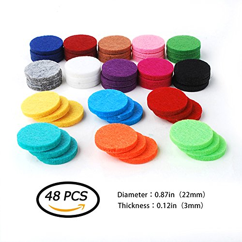 48 PCS Essential Oil Diffuser Refill Pads, 22 mm Aromatherapy Replacement Pads for 30 mm Necklace, Car Diffuser Bracelet with 16 Colors- Highly Absorbent Aromatherapy Diffuser Refill Pads