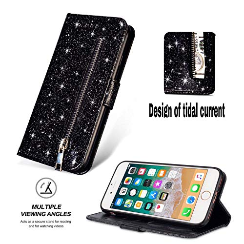 Shinyzone iPhone 6/iPhone 6S Glitter Zipper Wallet Case,Smooth PU Leather Case + Soft TPU Inner Shell with Card Holder and Hand Strap,Magnetic Closure Kickstand Flip Cover-Black