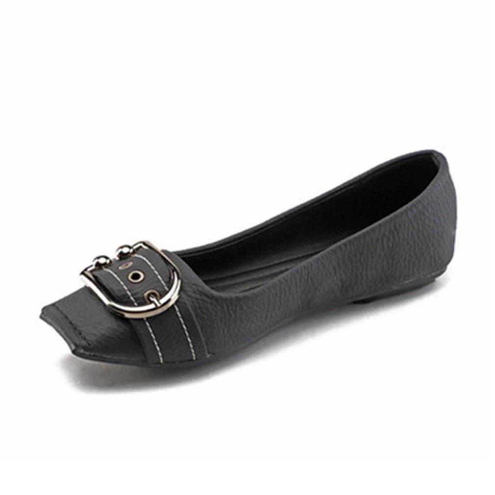 York Zhu Ballet Flats Fot Women, Square Toe Metal Buckle Soft Retro Cowboy Shoes B07DLQN4BX 5 B(M) US|Black