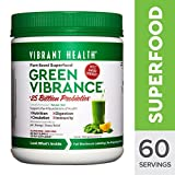 Vibrant Health - Green Vibrance, Plant-based Daily Superfood + Protein and Antioxidants, 60 Servings