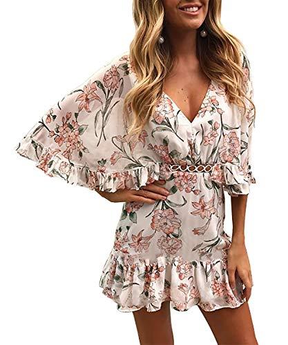 BTFBM Women Fashion Floral Print V Neck Hollow Out High Waist Ruffle Boho Flowy Short Dress (Pink, -