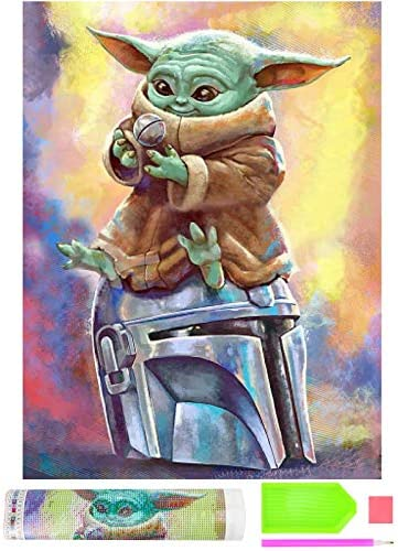 """DIY 5D Diamond Painting Kits, Round Full Drill Diamond Paintings Arts Craft for Relaxation and Home Wall Decor (01 Baby Yoda 11.8""""X15.7"""")"""