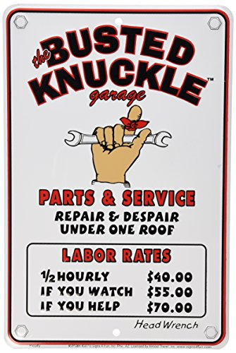 """Busted Knuckle Garage BKG-81 12"""" X 8"""" Mechanic's Labor Rate Sign"""