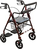 ProBasics Transport Rollator with Padded Seat, Burgundy, Easy Folding System, 8 Inch Wheels