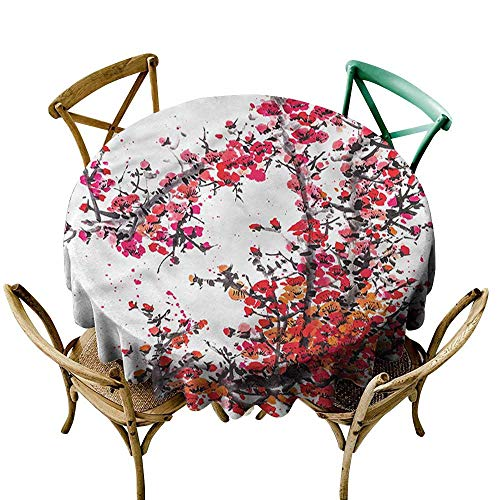 "familytaste Japanese,Tablecovers Watercolor Cherry Blossoms D 50"" Outdoor Picnics Round Tablecloth"