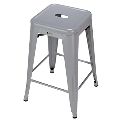 Superbe Homegear 4 Pack Stackable Metal Kitchen Stools / Chairs (Silver)