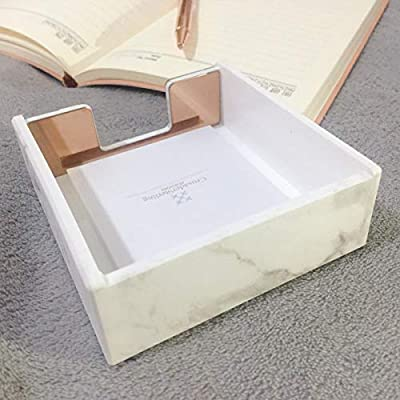 MultiBey Sticky Note Holder Marble White Texture with Gold
