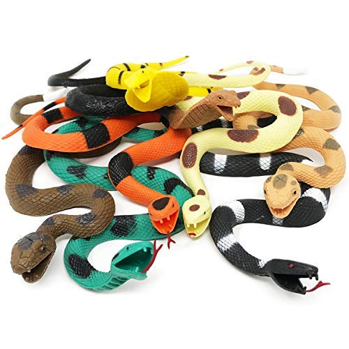BOLEY Giant Rubber Snakes 18'' Long Jungle, Rainforest and Tropical Snakes, including Rattlesnakes, Pythons Cobras - 8 pack