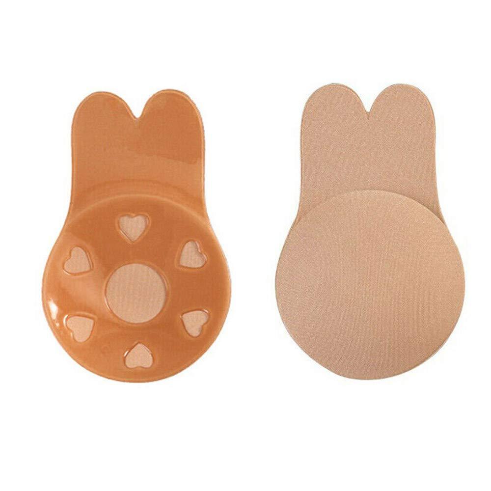 June# Reusable Invisible Bra,2 Pairs Women Invisible Brassy Tape Breast Lifting Bra Tape Silicone Invisible Nipple 2 Pair Black Bra Nipple Cover Sticker, Diameter:10.5cm//4.1 inch