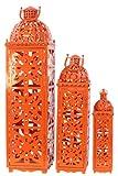 Benzara Beautifully Open Carved Metal Lanterns, Orange, Set of 3