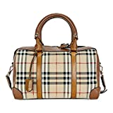 Burberry Women's Medium Alchester in Horseferry Check Bowling Bag Honey Tan