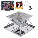 Folding Charcoal Grill, Portable BBQ Mini Foldable Camping Grill for Stainless Steel Garden