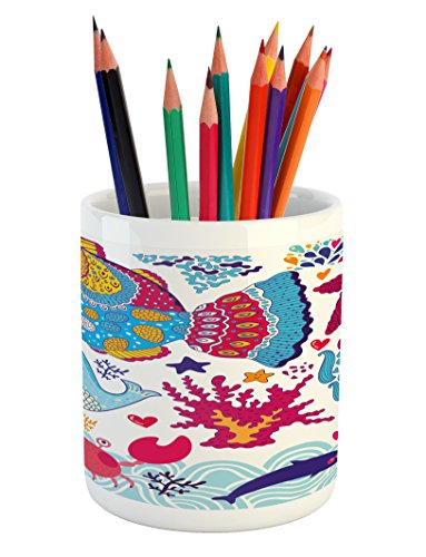 Fish Pencil Pen Holder by Ambesonne, Fish Motifs with Ethnic Tribal Effects and Starfish Crab Dolphin Animals Boho Design, Printed Ceramic Pencil Pen Holder for Desk Office Accessory, (Dolphin Motif)