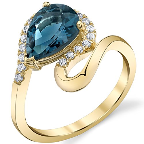 Genuine London Blue Topaz 14K Yellow Gold Pear-Shaped Swirl Ring (Topaz Shaped Pear)